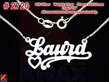 LAURA Personalized 925 Sterling Silver Name Necklace Handcrafted Custom Pendant
