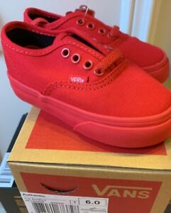 New Vans Authentic True Red Mono Monochrome Black Toddler Baby Shoes Size 6 Rare