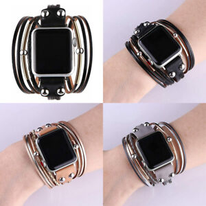 Double Wraps Leather Watch Band Straps for Apple iWatch Series 6/5/4/3/2/1 SE