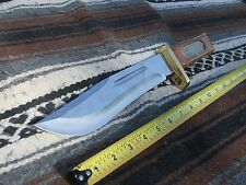 Stainless steel Bowie knife with bronze Rattlesnake skin inlays