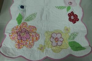 NEW Pottery Barn Kids JULIANNE Quilted set 2 Shams White Pink Floral Euro Square