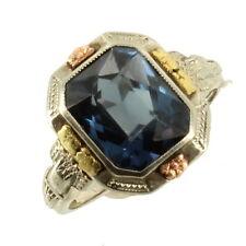 Antique Deco 14k Wht/Multi Gold Cushion Cut 2.72CT Color Change Sapphire Ring 6