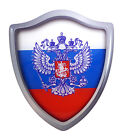 "Russia Russian Shield Domed Decal 3D Look edge Emblem Resin car sticker 2.6""x3"""