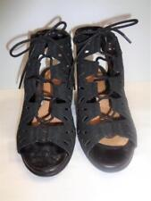 EARTH daylily black leather open toe wedge heel ankle bootie sandals shoes 9.5B