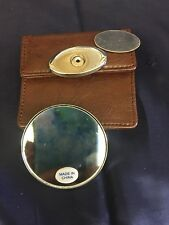Compact Pocket Travel Makeup Purse Mirror With Case And Engraving Plate