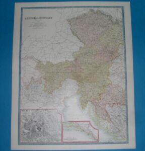 1912 XXL ORIGINAL MAP SLOVENIA CARNIOLA LAIBACH AUSTRIA CROATIA BOHEMIA DALMATIA