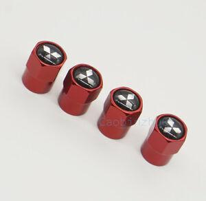4x Red Car Accessories Wheel Cover Tire Valve Stem Caps Logo for Mitsubishi