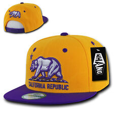 California Republic SNAPBACK Hat vtg retro LA CALI BEAR 3D Flat Bill Cap lakers