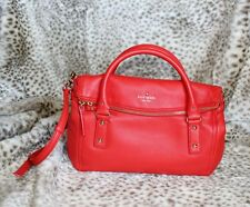 NWT Kate Spade cobble hill small leslie Leather Satchel Bag Purse Red WKRU2483