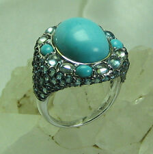 HSN Rarities Carol Brodie Turquoise & Blue Topaz 925 Sterling Silver Ring SZ 8