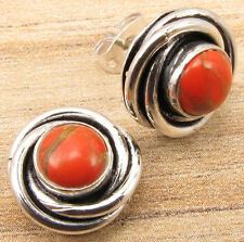 SPIRAL KNOT Earrings !! 925 Silver Plated ORANGE COPPER TURQUOISE Stud Jewelry