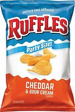 Ruffles Cheddar & Sour Cream Flavored Potato Chips, Party Size! 13 Oz. (1 Bag)