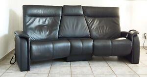 Musterring Trapezsofa 3-Sitzer Kino- u. Relaxsessel Leder schwarz vollelektrisch
