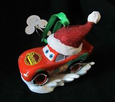 Disney Parks christmas lightning mcqueen with santa hat ornament new