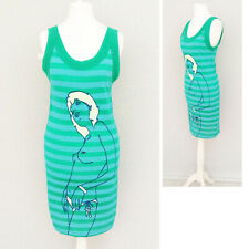 Women T-Shirt Dress 8 Graphic Lou Lou and Law Women Stripe Long Blue Green NEW