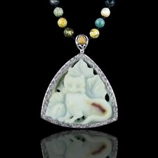 """Hand Carved  Cat 22"""" Silver Necklace DB308001"""