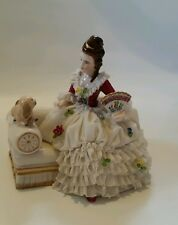 Dresden MZ Lace Porcelain Lady with Fan & Dog on Chaise Lounge Figurine