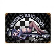 Krissie Auto Body Wrench Pin Up Schraubenschlüssel Retro Sign Blechschild Schild