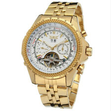 Chronograph Gold Tone Stainless Steel Bracelet White and Black Dial Men's Watch