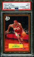 2007 LeBron James TOPPS COPPER 1957-58 VARIATION #23 SP /50 PSA 9 BGS prizm gold