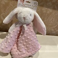 NWT Blankets and Beyond Pink & Ehite Bunny Baby Security Blanket Plush