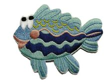 Blue Tones Big Eyed Comical Fish Iron On Applique Patch 2.75 Inches