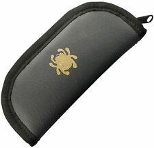 "Spyderco Black Synthetic Leather Knife Storage Zipper Pouch Fits 4.5"" Knife C18C"