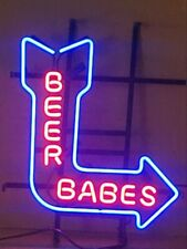 "New Beer Babes Arrow Bar Cub Party Light Lamp Decor Neon Sign 17""x14"""