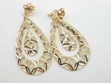 10K YELLOW GOLD DIAMOND CUT FILIGREE DANGLE TEARDROP EARRINGS 2.6 GRAMS
