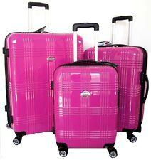3PC Pink Hard Case Rolling Spinner Luggage Travel Set 4-Wheels Bag TSA Locks