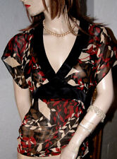 Orsay Chiffon Bluse * Tunika  leicht transparent schwarz rot braun creme S