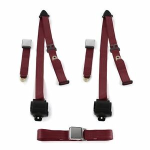 Airplane 3Pt Burgandy Retractable Bench Seat Belt Kit 3 Belts Fits 1955-56 Ford