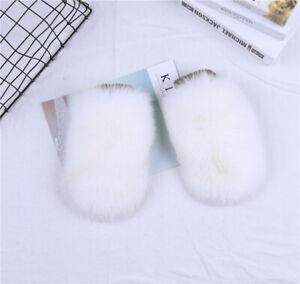 Women's Real Fox Fur Gloves Wool Kintting Mittens Girls Ski Wrist Glove Mitts