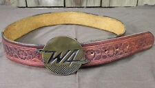 "W4 DYNABUCKLE Belt Leather with Embossed Brown Flowers  Size 38"" full Length"