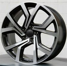 "(4) 18"" 18x8 5x112 BLACK MACHINE WHEELS VW GOLF MK5 MK6 MK7 CC JETTA PASSAT GTI"