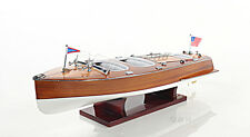 "Chris Craft Triple Cockpit Speed Boat Wooden Model 24"" Runabout New"