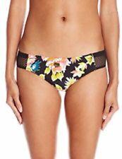 Volcom Cheeky Bikini Bottom Size X-Large Black Floral Crochet Sides
