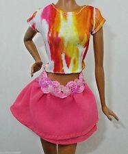 SPARKLE GIRLZ BARBIE DOLL CLOTHES SILKY TIE DYE SHIRT & CHIFFON MINI SKIRT 2 PC