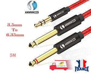 Câble Audio Jack 3.5mm vers Double 6.35mm Mâle à Mâle Mono 5M  ANNNWZZD AUX