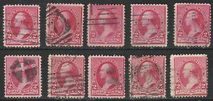 USA Scott #  220 2¢ Carmine Washington  issue of 1890 used lot of 10 ( 220-10-1)