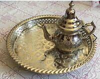 "Moroccan Handmade Tea Serving Tray Set 1 Small Teapot 1 Tray 12"" NEW"