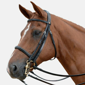 Albion KB Double Weymouth Cavesson Bridle + 2 Sets Nubuck Reins black full size