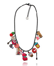Collier chat gourmand ♥ rose bonbon ♥ souris ♥ fiole verre ♥ lol bijoux ♥ paris