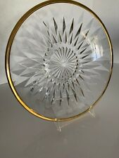 "Set 4 Diamante GOLD Collection 24 Karat Gold Trim Cut Crystal Dinner Plates 9"""