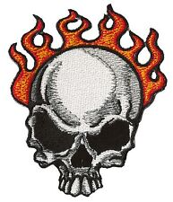 Patche écusson hotfix thermocollant transfert Skull on fire patch DIY