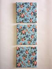 SET OF 3 VINTAGE FLORAL WALL HANGINGS ART FLOWER DUCK EGG BLUE GREEN PINK RED