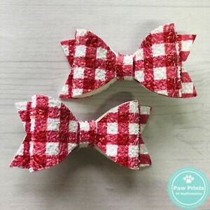 Pair Of Red Gingham Pigtail Bows - School Uniform Hair Clips