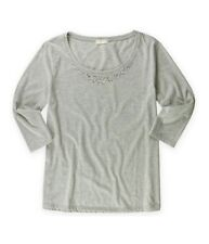 Melrose Chic Womens Solid Embellished T-Shirt, Grey, Small
