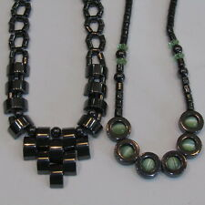 HEMATITE Necklace LOT Therapeutic 100% Magnetic Root Chakra Moonglow Statement