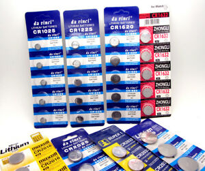 CR1025 CR1216 CR1220 CR1632 3v Lithium Batteries Coil Button Cell Pack Of 5